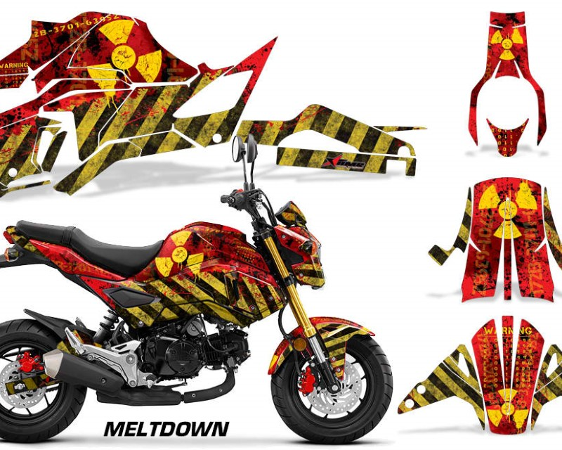AMR Racing Street Bike Decal Graphic Kit Sticker Wrap For Honda GROM125 2017-2018áMELTDOWN YELLOW RED