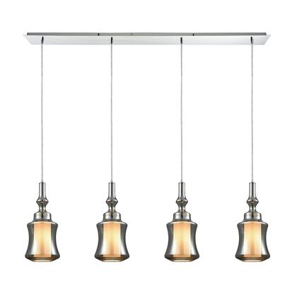 56503/4LP Alora 4 Light Linear Pan Pendant in Polished Chrome with Opal White Glass Inside Smoke Plated