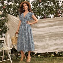 Butterfly Sleeve Belted Floral A-line Dress