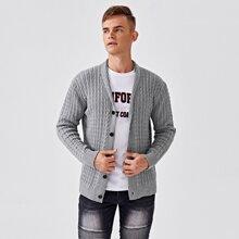 Men Cable Knit Button Front Cardigan