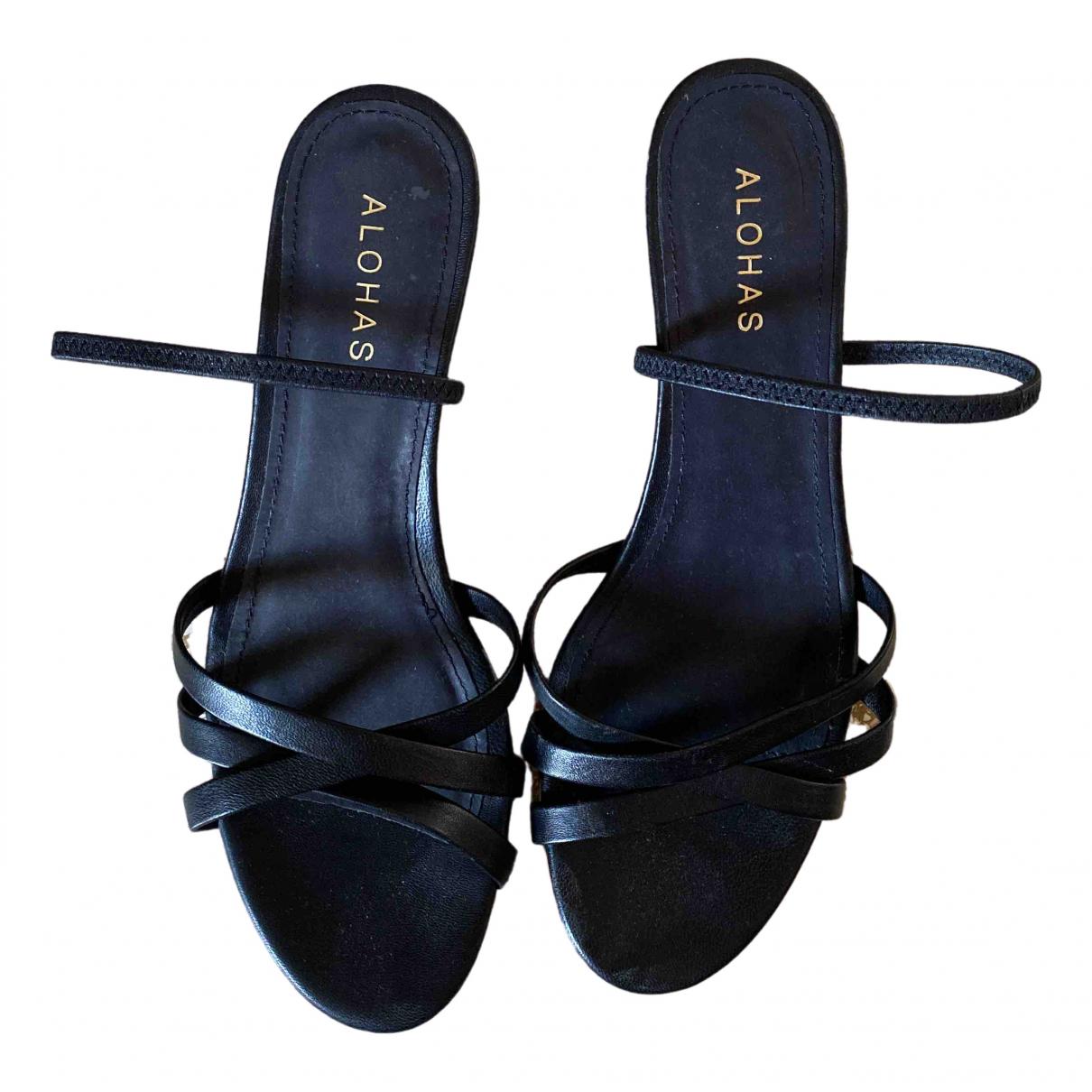 Alohas - Sandales   pour femme en cuir - noir