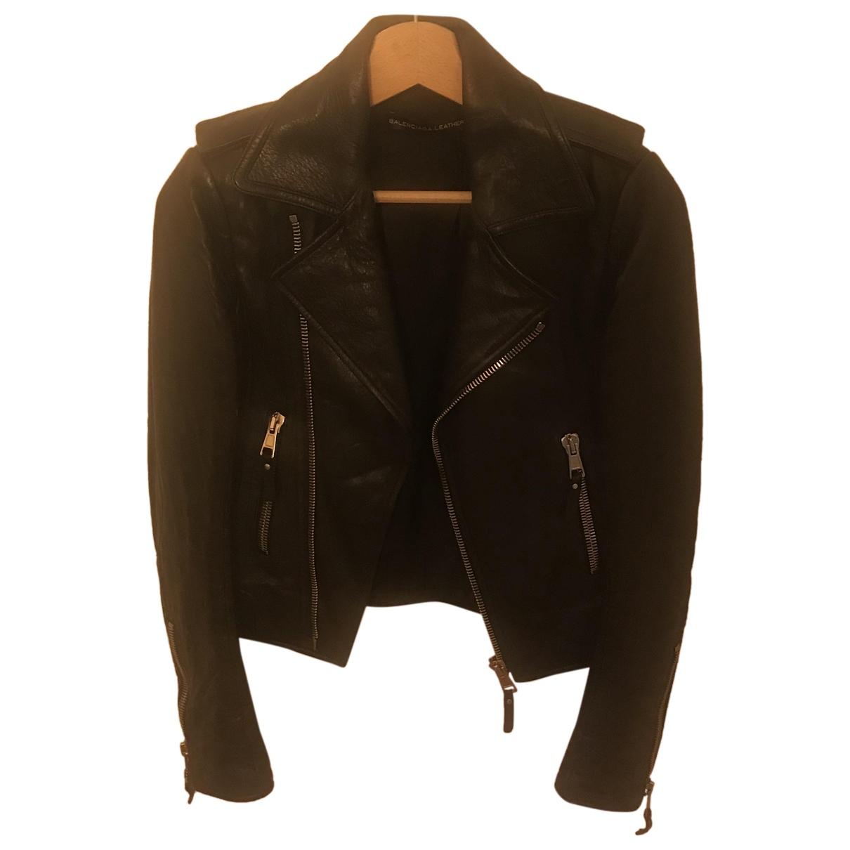 Balenciaga N Black Leather jacket for Women 34 FR