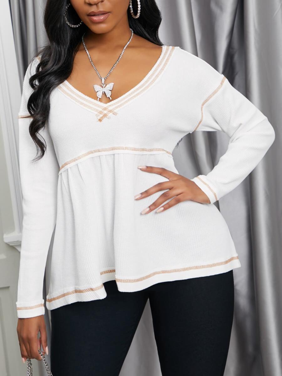 LW Lovely Casual V Neck Loose Fold Design White T-shirt