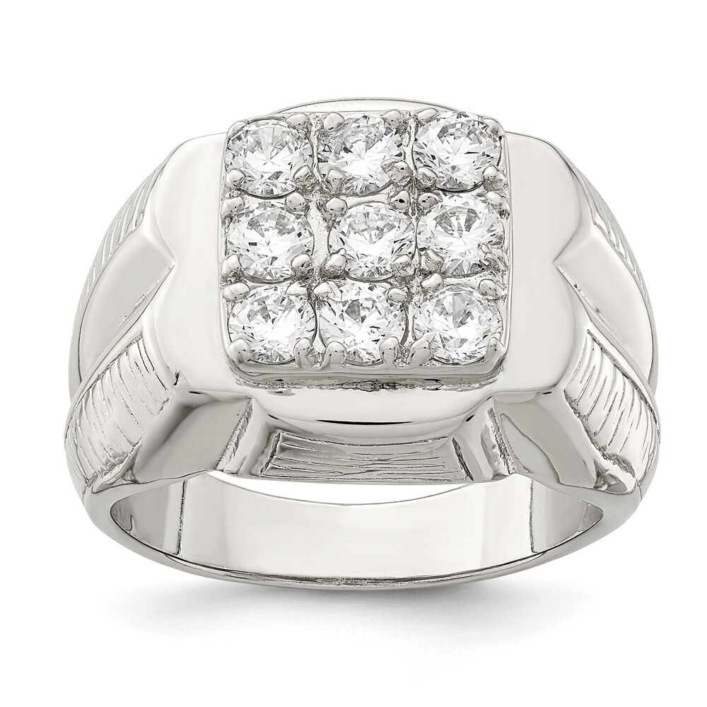 Sterling Silver Polished Men's Cubic Zirconia Ring by Versil (10)