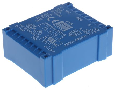 Block 15V ac 2 Output Through Hole PCB Transformer, 4VA