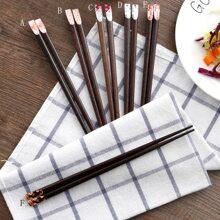 1pair Flower Print Chopsticks