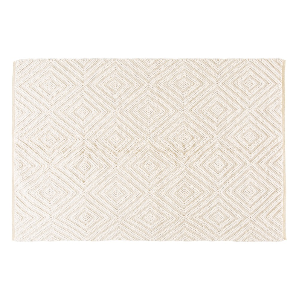 Teppich aus Wolle und Baumwolle, ecrufarben mit grafischen Motiven 160x230