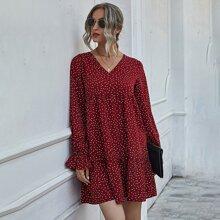 Kleid mit V Kragen und Punkten Muster