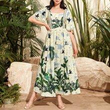 Kleid mit quadratischem Kragen, Flatteraermeln und tropischem Muster