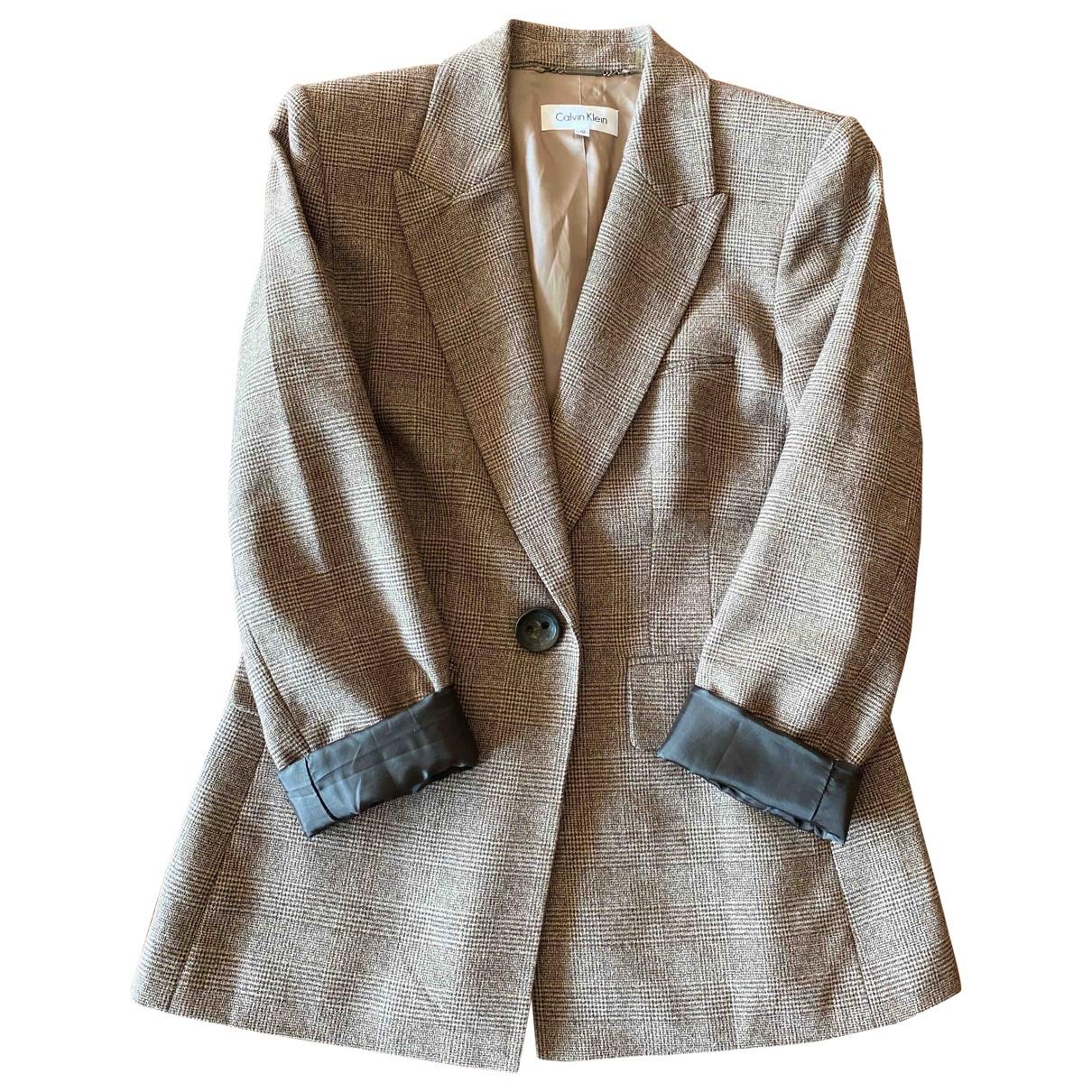 Calvin Klein - Veste   pour femme en laine - marron
