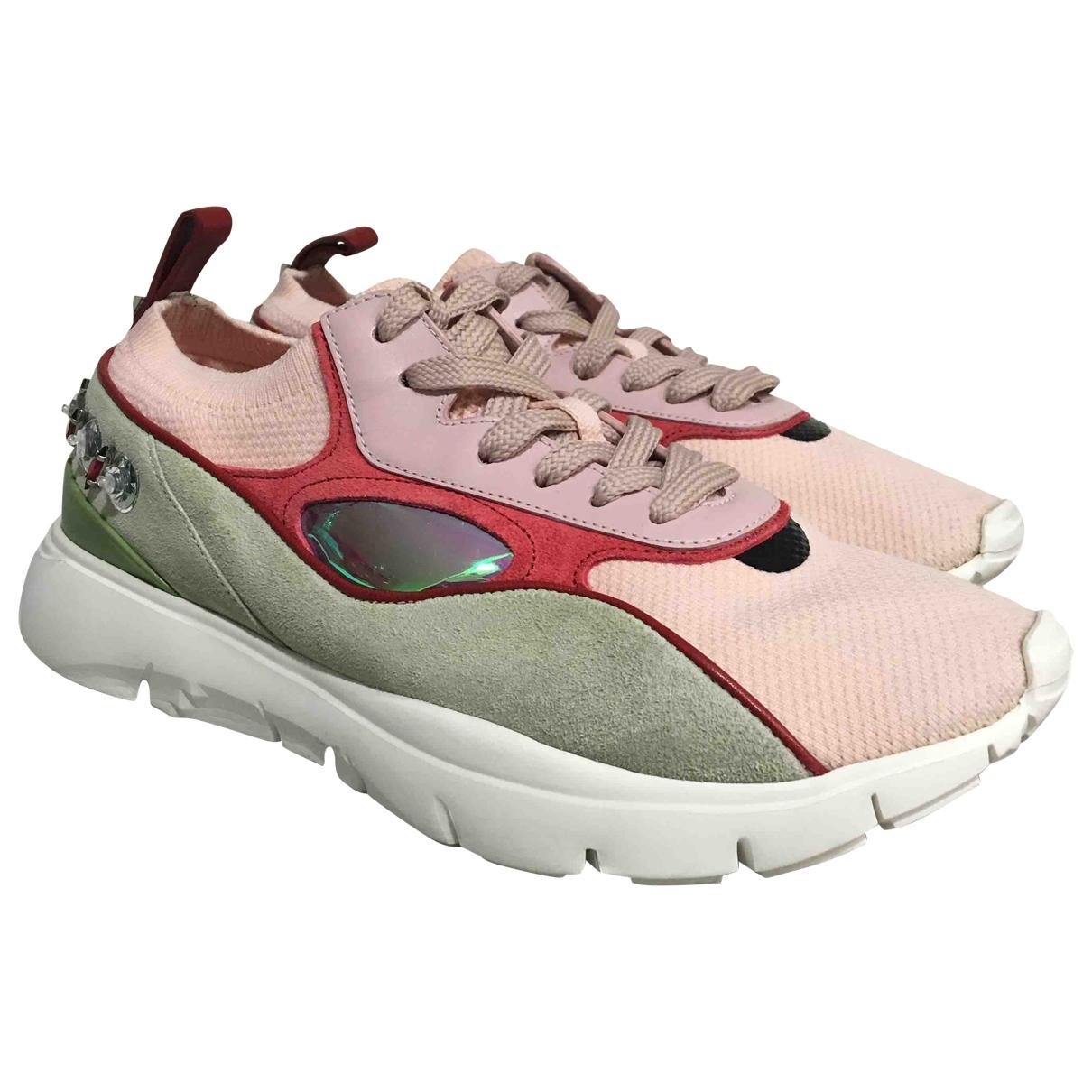 Valentino Garavani - Baskets   pour femme en suede - rose