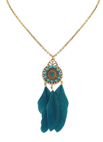 Milanoo Boho Necklace Feather Fringe Pendant Necklace For Women