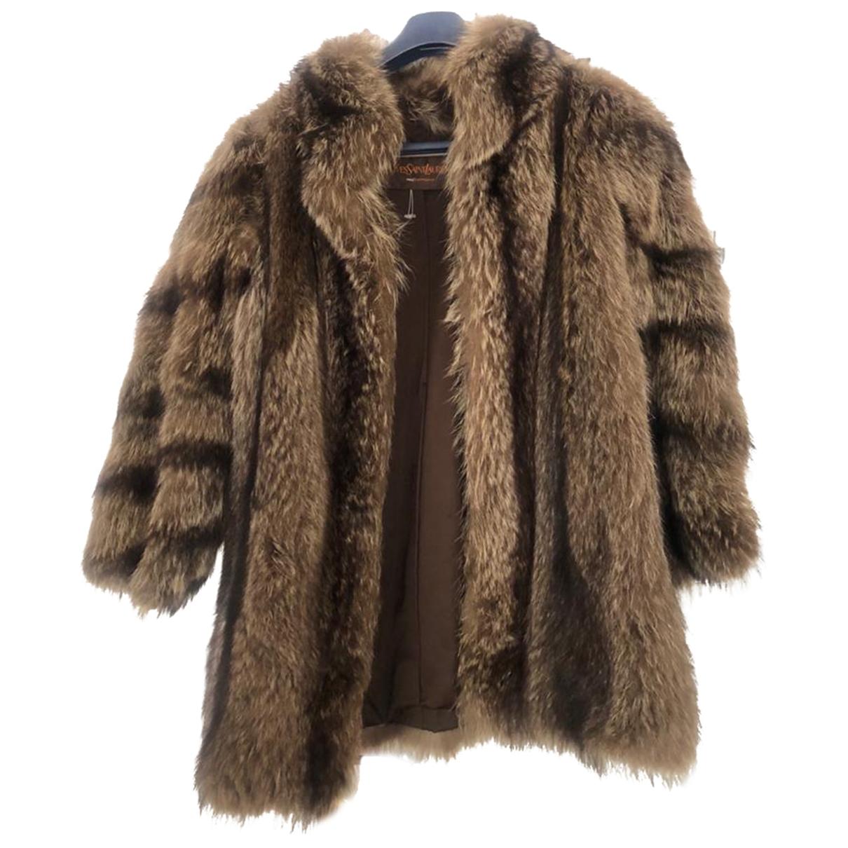 Yves Saint Laurent - Manteau   pour femme en fourrure - marron