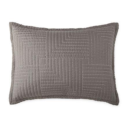 JCPenney Home Zen Garden Pillow Sham, One Size , Gray
