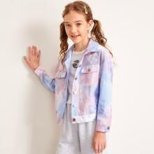 Girls Flap Pocket Front Tie Dye Jacket
