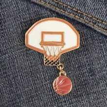 Basketball Hoop & Basketball Design Brooch