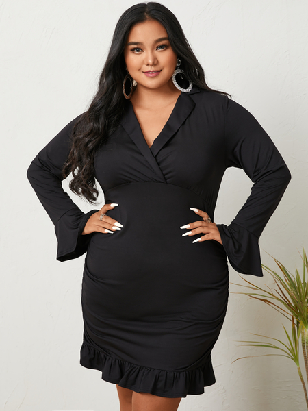 YOINS Plus Size V-neck Pleated Wrap Design Long Sleeves Mini Dress