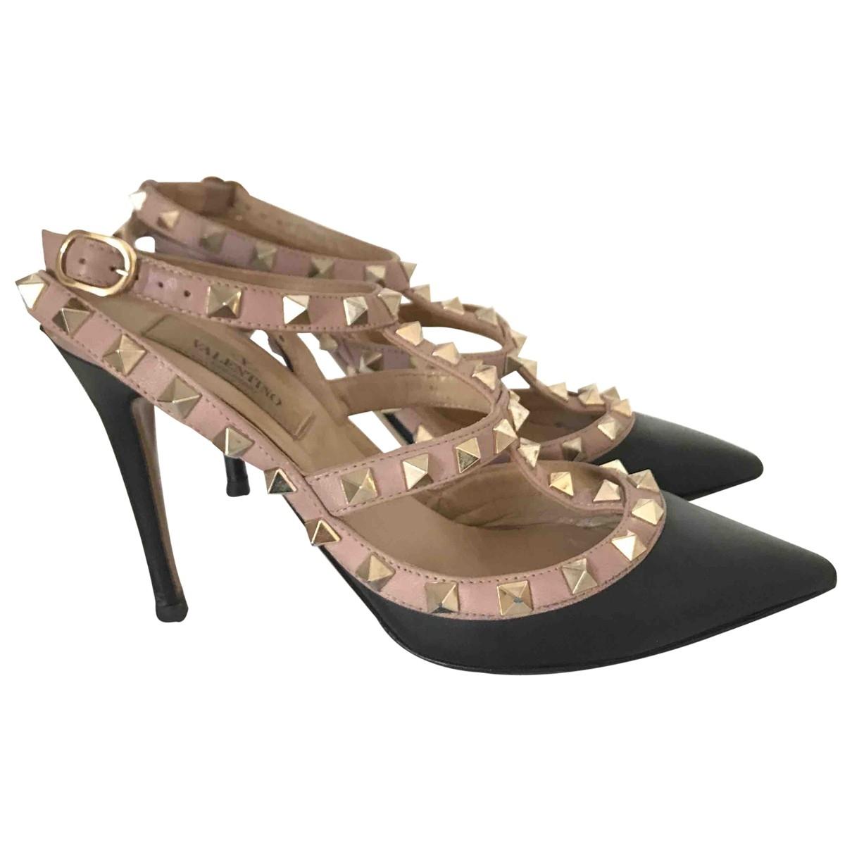 Valentino Garavani Rockstud Black Leather Heels for Women 35 EU