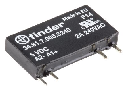 Finder 2 A SPNO Solid State Relay, Zero Crossing, PCB Mount, 240 V ac Maximum Load