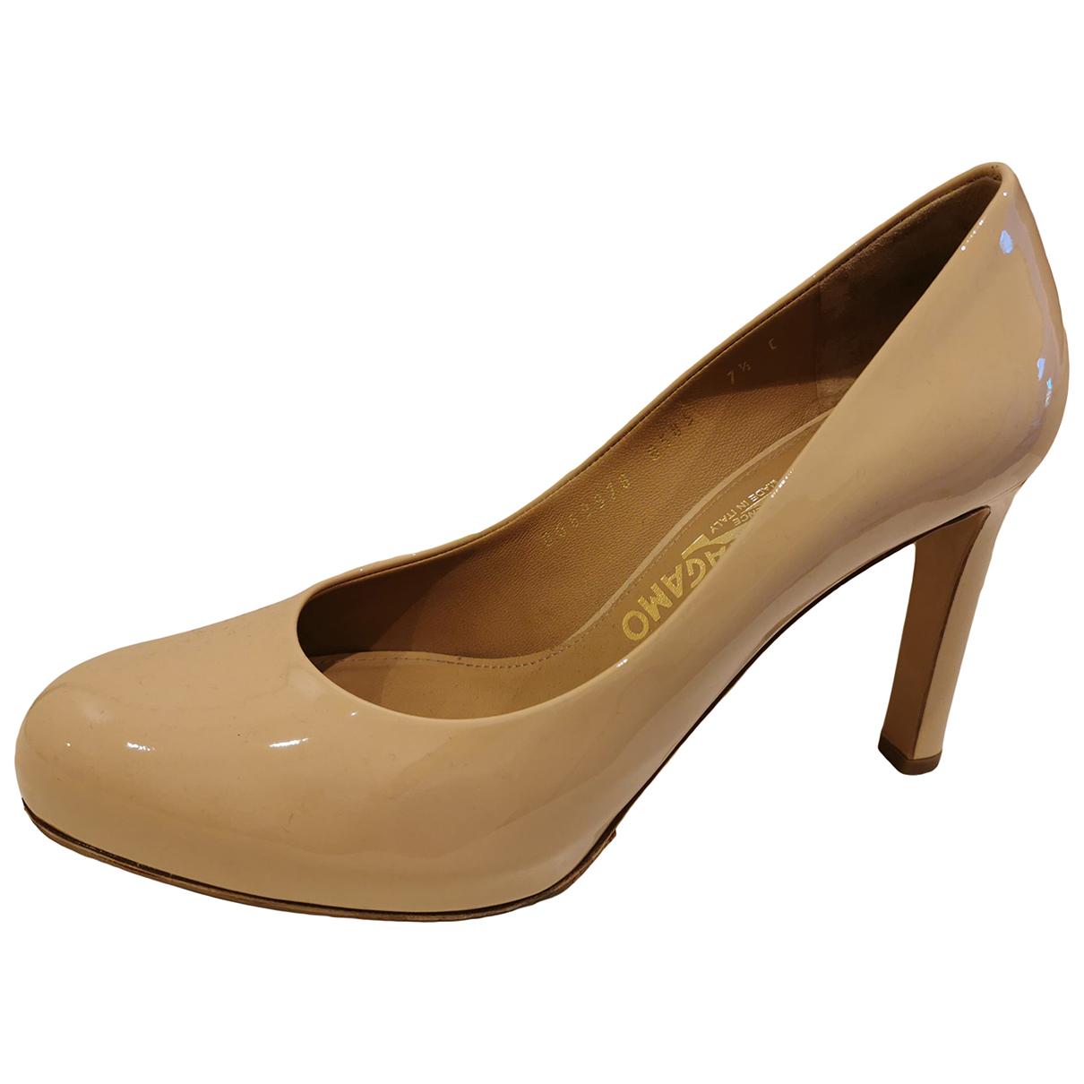 Salvatore Ferragamo N Beige Patent leather Heels for Women 37.5 EU