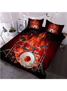 Fiery Skeleton Drummer Printed 3-Piece 3D Comforter Sets