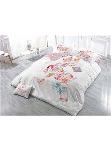 Elegant Flowers Wear-resistant Breathable High Quality 60s Cotton 4-Piece 3D Bedding Sets