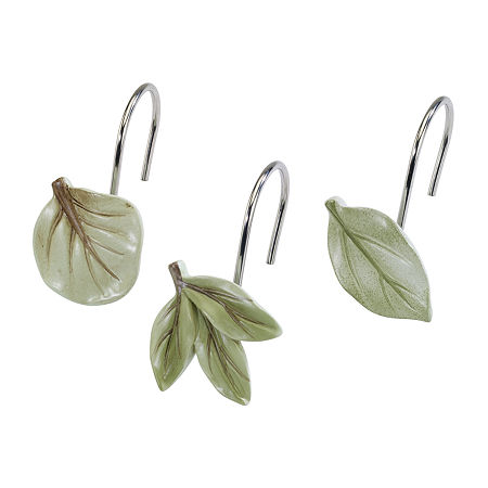 Avanti Ombre Leaves Shower Curtain Hooks, One Size , Green