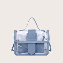 Girls Buckle Strap Decor Satchel Bag