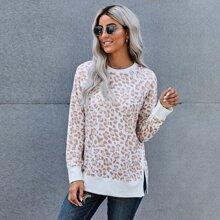 Leopard Print Split Hem Sweatshirt