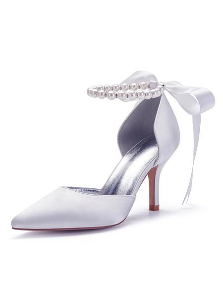 Milanoo Satin Wedding Shoes Rose Pointed Toe Bow Stiletto Heel Bridal Shoes