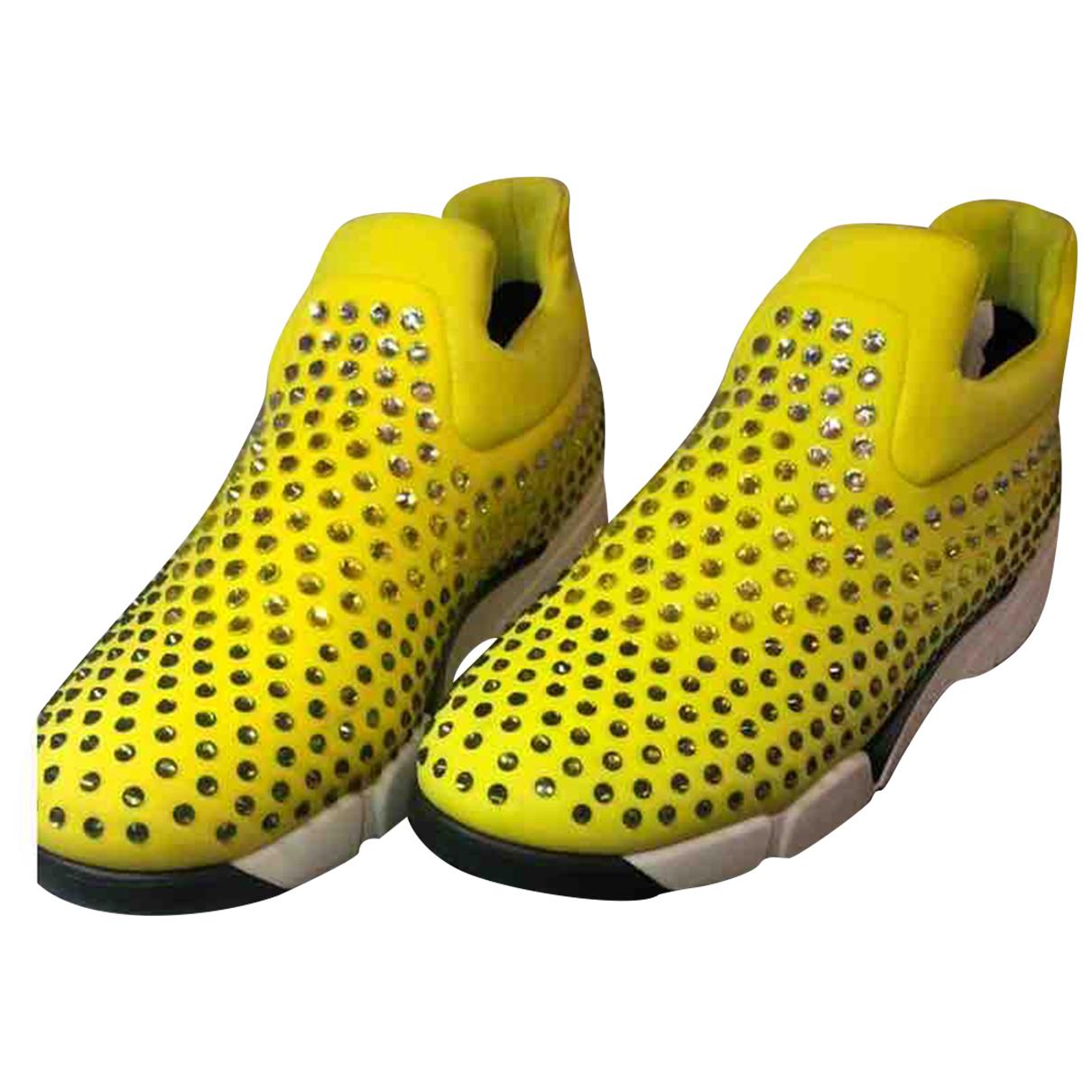 Pinko - Baskets   pour femme en toile - jaune