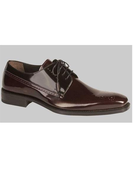 Men's Lace Up Shiny Burgundy Black Oxford Shoes Authentic Mezlan Brand