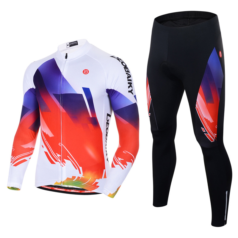 Men's Cycling Clothing Set Breathable Quick Dry Long Sleeve Jersey White