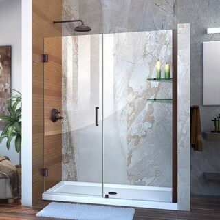 DreamLine Unidoor 59-60 in. W x 72 in. H Frameless Hinged Shower Door with Shelves - 59