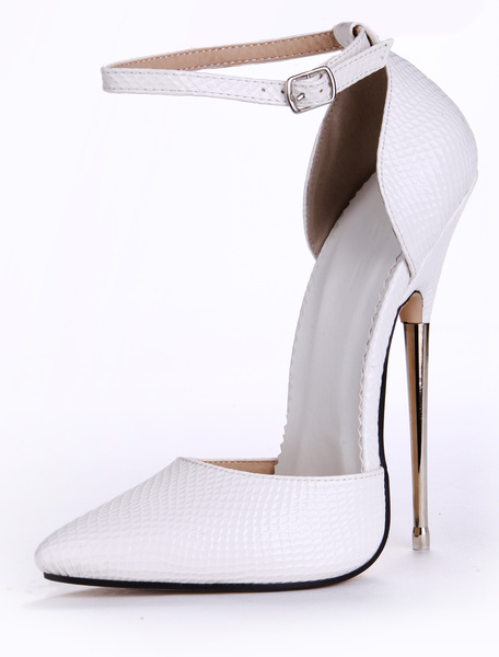 Milanoo White PU Leather Pointed Toe Ankle Strap Sexy Pumps
