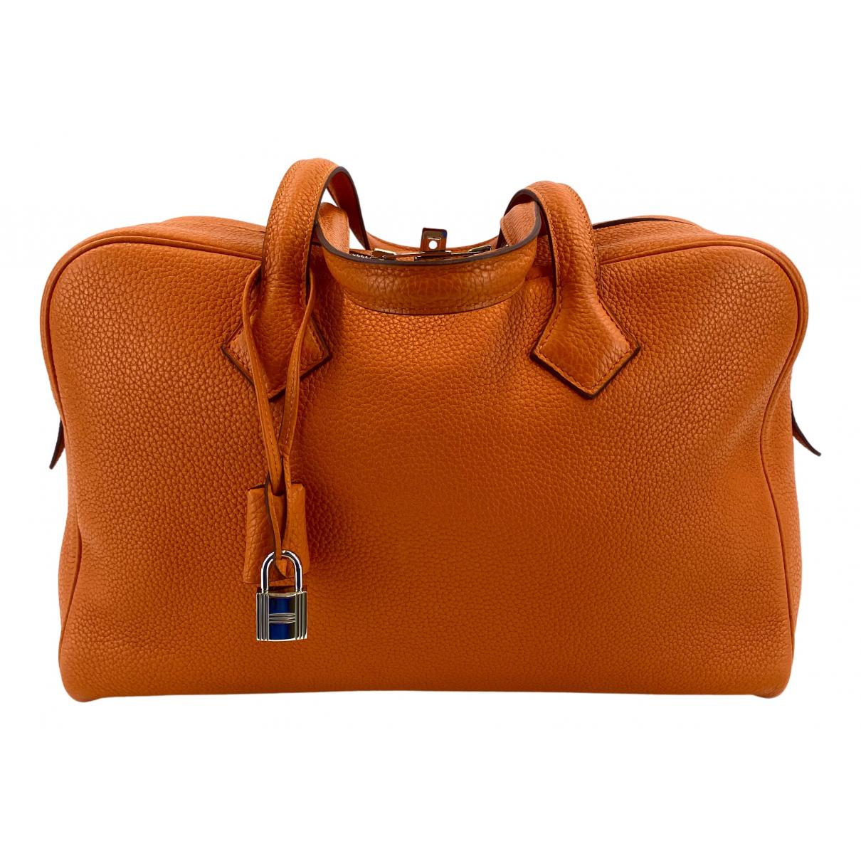 Hermes - Sac a main Victoria pour femme en cuir - orange