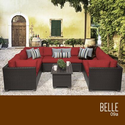 BELLE-09a-TERRACOTTA Belle 9 Piece Outdoor Wicker Patio Furniture Set 09a with 2 Covers: Wheat and