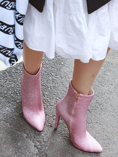 Milanoo Botines de mujer de color rosa con lentejuelas, punta estrecha, tacon de aguja, botines de tacon alto