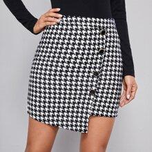 Buttoned Front Asymmetrical Hem Houndstooth Skirt