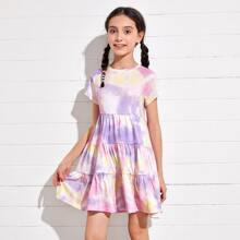 Kleid mit Raglanaermeln, Batik und Schosschen am Saum