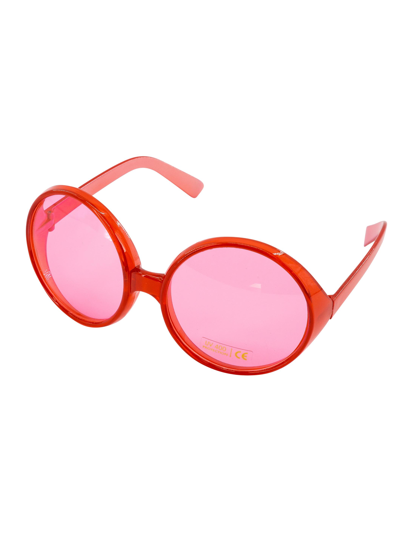 Kostuemzubehor Brille grosse runde Glaeser rot