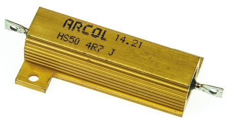 Arcol HS50 Series Aluminium Housed Axial Wire Wound Panel Mount Resistor, 4.7Ω ±5% 50W