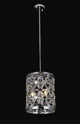 ZL32P7CH 3-Light Single Pendant Lighting with Metal and Crystal Materials and 60 Watts in Chrome