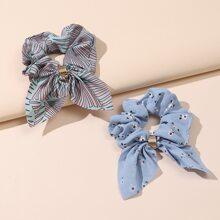 2 piezas goma de pelo con lazo con patron de flor