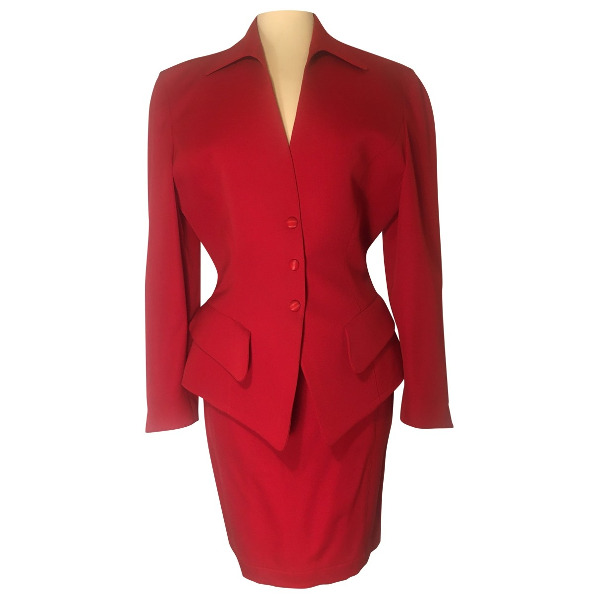 Thierry Mugler \N Jacke in  Rot Wolle