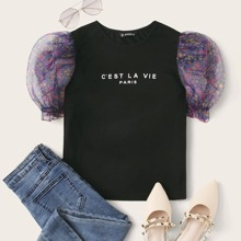Sheer Floral Puff Sleeve Slogan Graphic Top