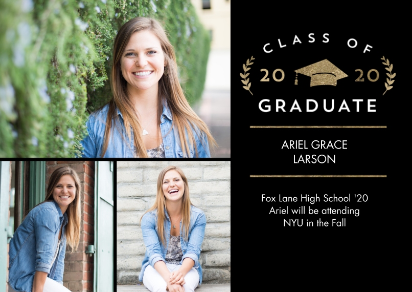 2020 Graduation Announcements Flat Glossy Photo Paper Cards with Envelopes, 5x7, Card & Stationery -2020 Grad Laurel by Tumbalina
