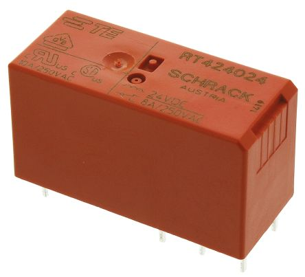 TE Connectivity , 24V dc Coil Non-Latching Relay DPDT, 8A Switching Current PCB Mount, 2 Pole