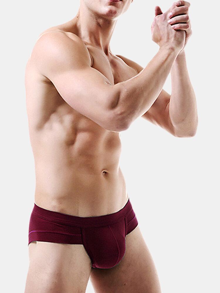 Simple Design Big Pouch Solid Color U Convex Modal Breathable Brief Underwear for Men