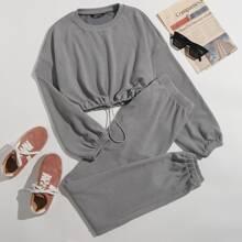 Drop Shoulder Drawstring Hem Crop Pullover & Pants Set